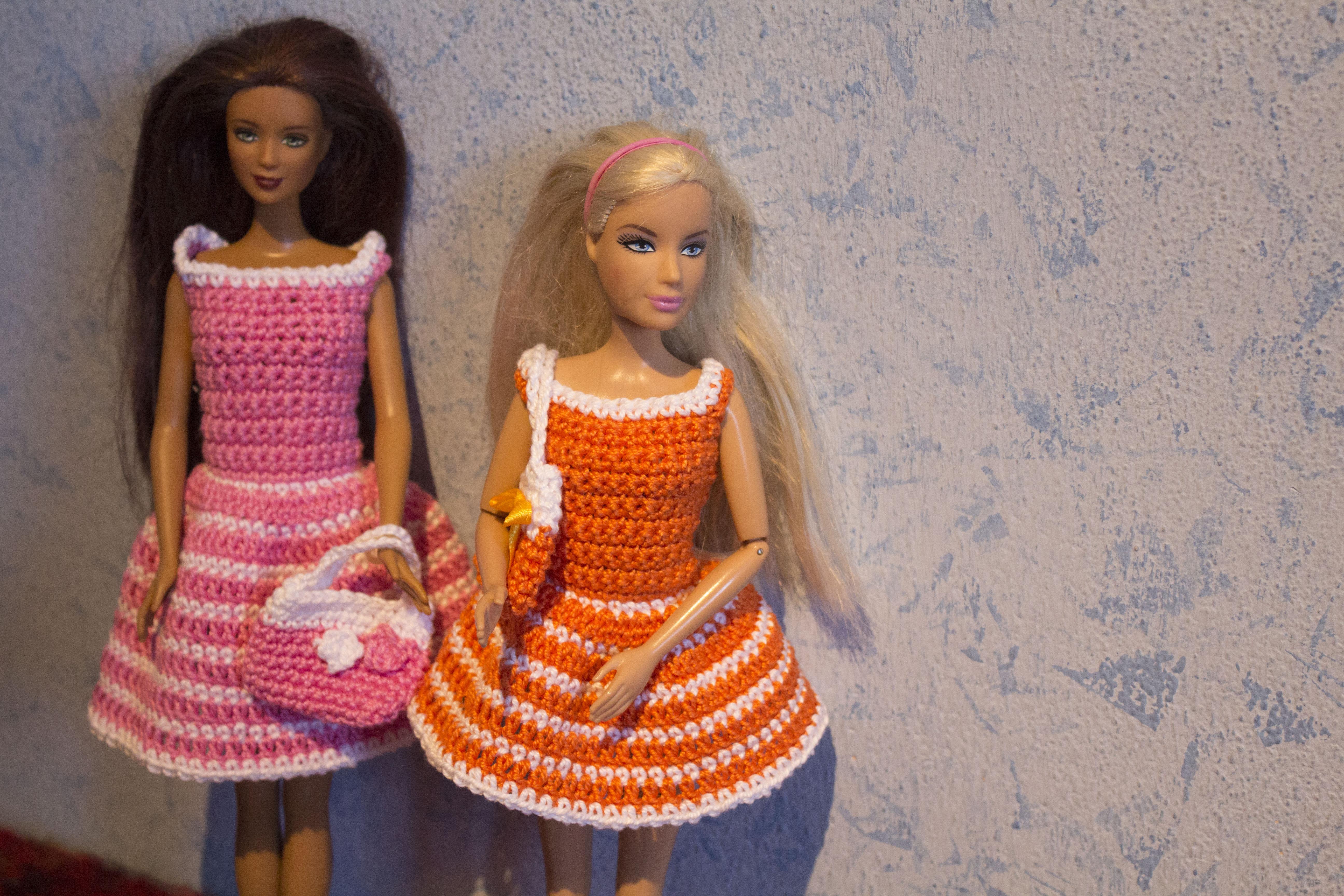 Vestito A Righe Con Borsetta Barbie Crochet Schema Gratis